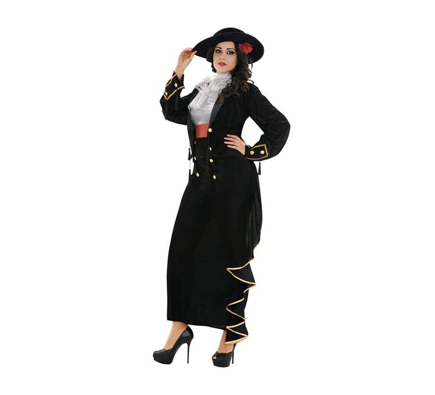 Disfraz de Cordobesa Sexy para mujer. Talla XXL = 48/52, Incluye sombrero con flor, camisa, pecherín, chaqueta, fajín y falda.