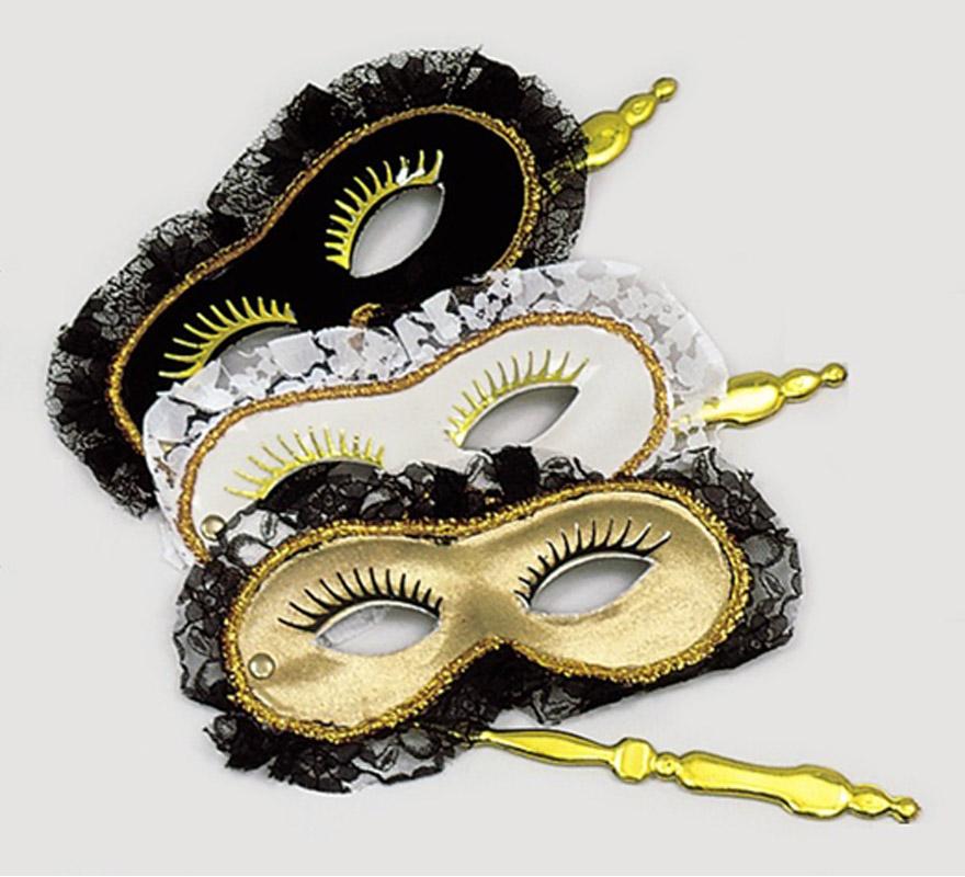 Antifaz Rialto con soporte. Varios colores. El complemento ideal para tu disfraz Veneciano.