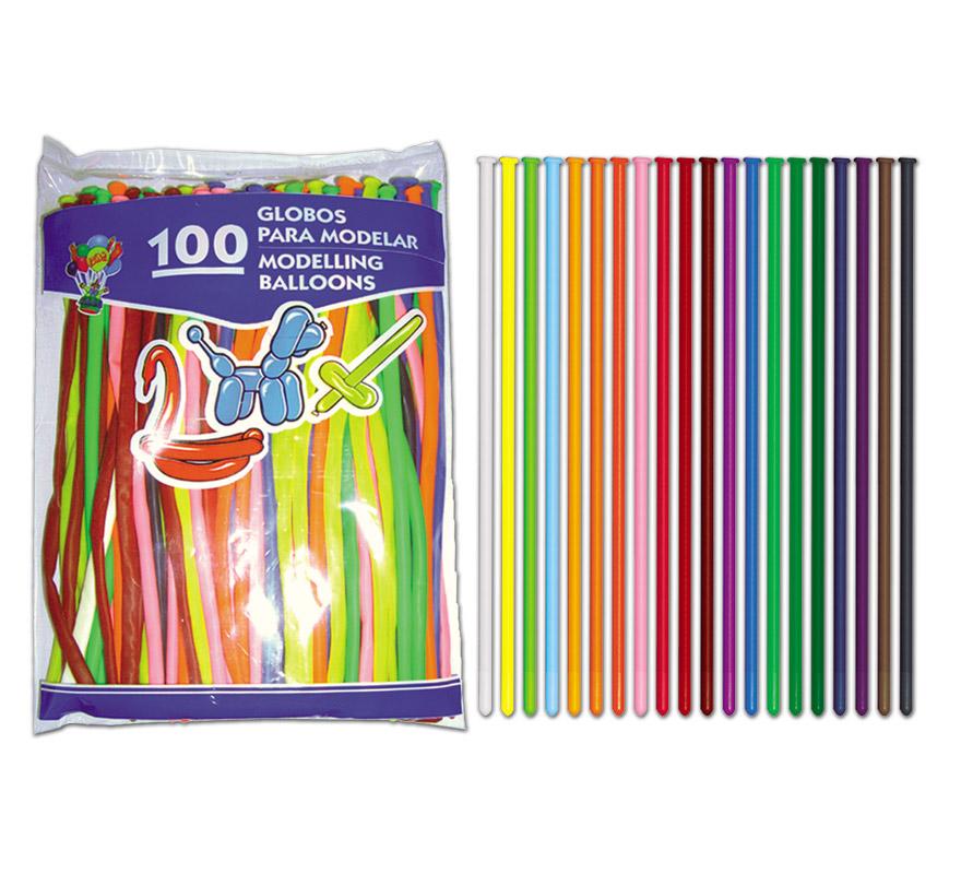 Bolsa de 100 Globos 5 cm. Ø de colores variados para modelar.