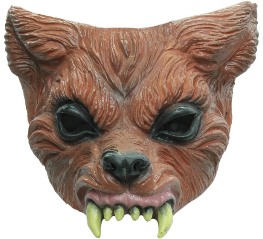 Media Máscara Wolf Brown Hombre Lobo Pardo o Marrón con Colmillos y Orejas para Halloween. Alta calidad. Fabricada en látex artesanalmente por una empresa que hace efectos especiales para Hollywood.