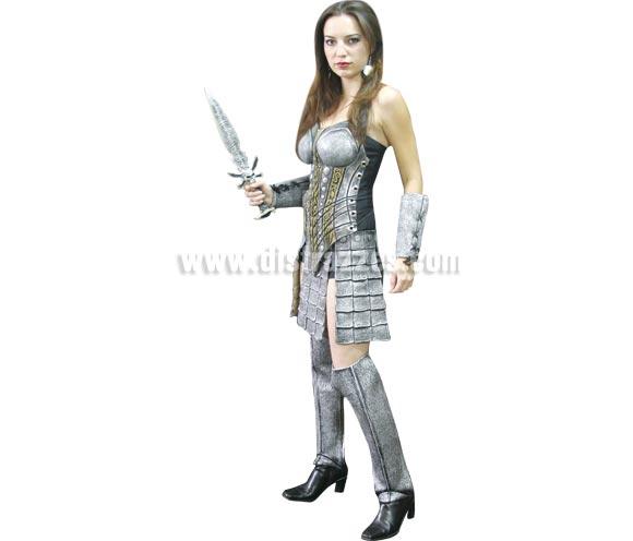Disfraz de Amazona de látex. Talla única 40/44. Un disfraz muy especial y diferente. Alta calidad. Incluye puños, corpiño, falda y espinilleras.