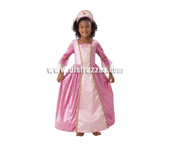 Disfraz de Princesa Rosa con ribetes dorados para niñas de 1 a 2 años. Incluye vestido y tocado. Éste traje es perfecto para Carnaval y como regalo en Navidad.