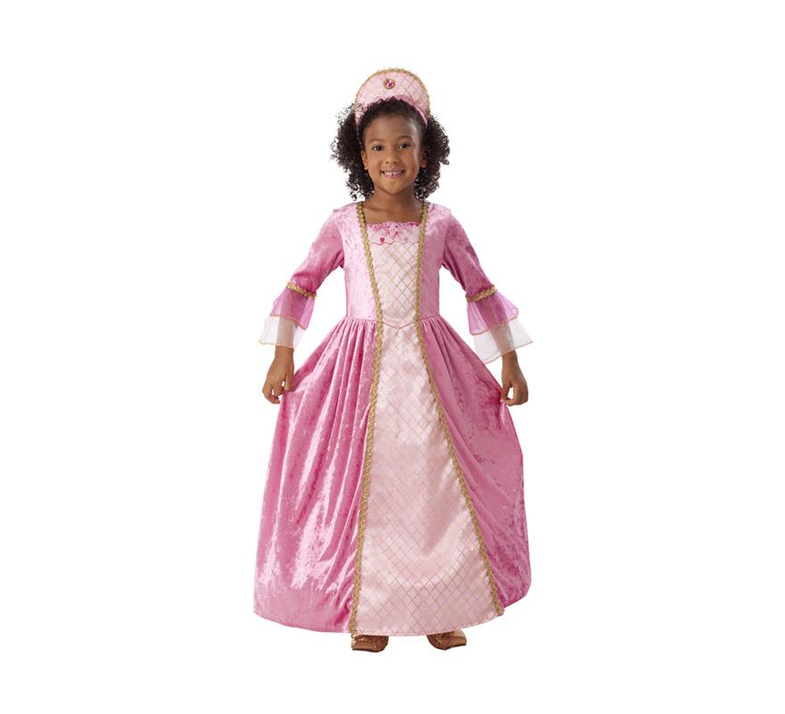 Disfraz de Princesa Rosa con ribetes dorados para niñas de 3 a 4 años. Incluye vestido y tocado. Éste traje es perfecto para Carnaval y como regalo en Navidad.