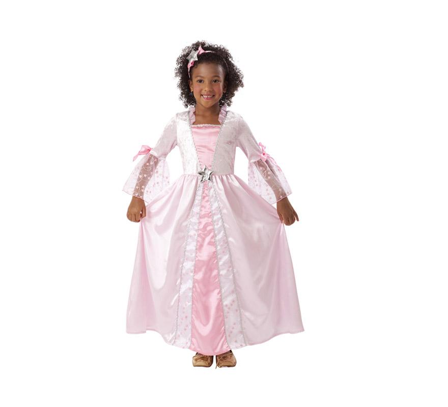 Disfraz barato de Princesa Rosa con estrellitas para niñas de 3 a 4 años. Incluye vestido y tocado. Éste traje es perfecto para Carnaval y como regalo en Navidad.