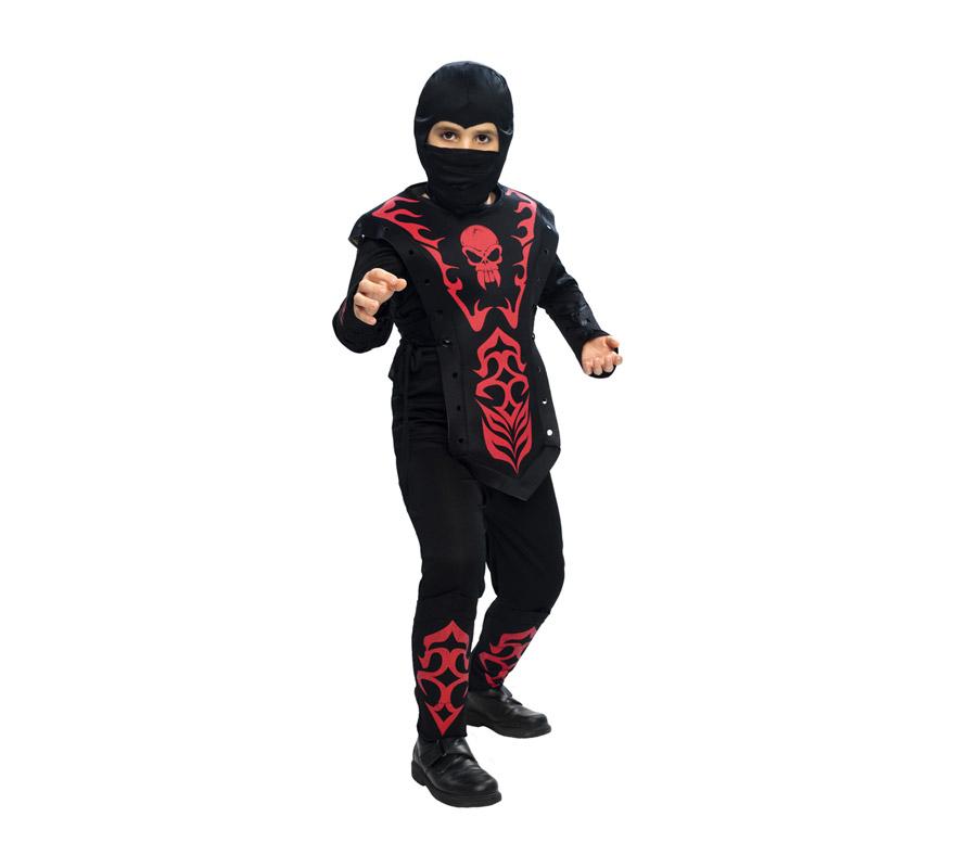 Disfraz de Ninja rojo para niños de 10 a 12 años. Incluye 7 piezas: capucha, máscara, camiseta, armadura, pantalón, cinturón, protector de brazos y piernas.