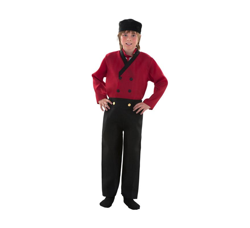 Disfraz de Holandés para niños de 7 a 9 años. Incluye gorro, pechera, chaqueta y pantalón.