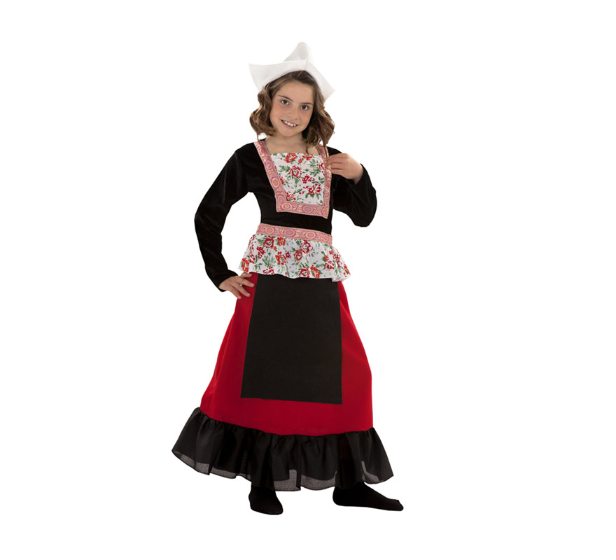 Disfraz de Holandesa para niñas de 3 a 4 años. Incluye sombrero y vestido.
