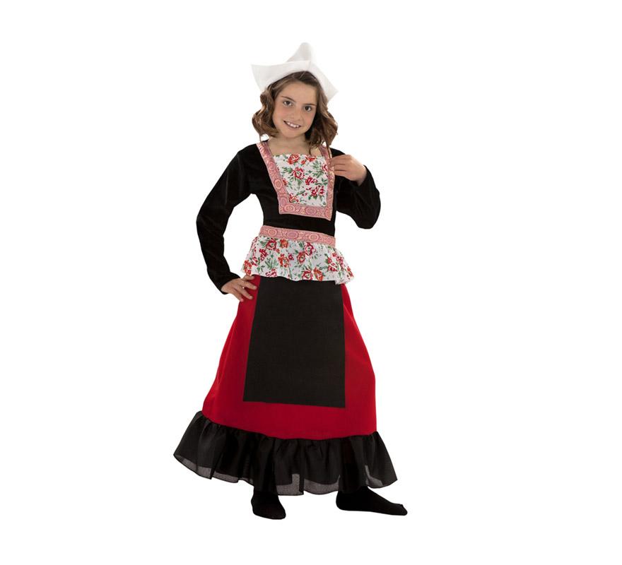 Disfraz de Holandesa para niñas de 7 a 9 años. Incluye sombrero y vestido.
