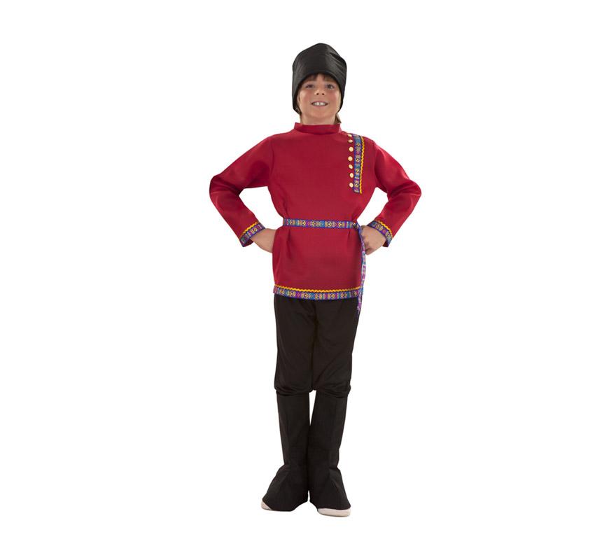 Disfraz de Ruso para niños de 10 a 12 años. Incluye gorro, camisa, cinturón, pantalón y cubrebotas.