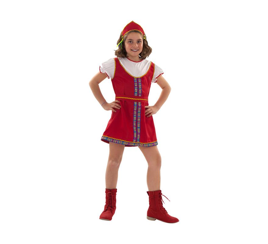 Disfraz de Rusa para niñas de 5 a 6 años. Incluye tiara, cinturón y vestido.