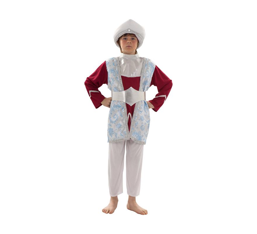 Disfraz de Rajá o Paje Real para niños de 5 a 6 años. Incluye turbante, casaca, chaleco largo, pantalón y cinturón.