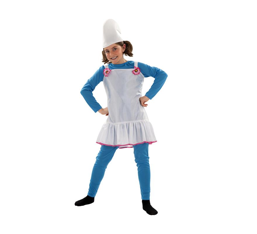 Disfraz de Duende o de Enanita Azul para niñas de 7 a 9 años. Incluye gorro, camiseta,  mallas y vestido. Ideal para imitar a los Pitufos.