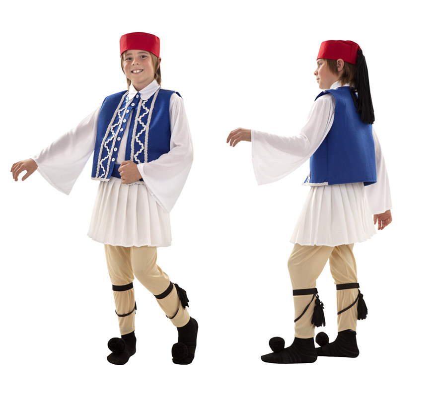 Disfraz de Griego para niños de 10 a 12 años. Incluye gorro, camisa, falda, chaleco, pantalón, dos ligas y dos pompones.