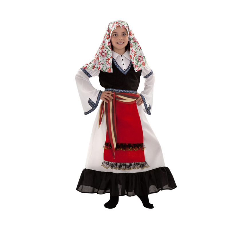 Disfraz de Griega para niñas de 3 a 4 años. Incluye pañuelo de la cabeza, vestido, fajín y chaleco. También sirve como disfraz de Pastora o de Pastorcilla de Navidad.