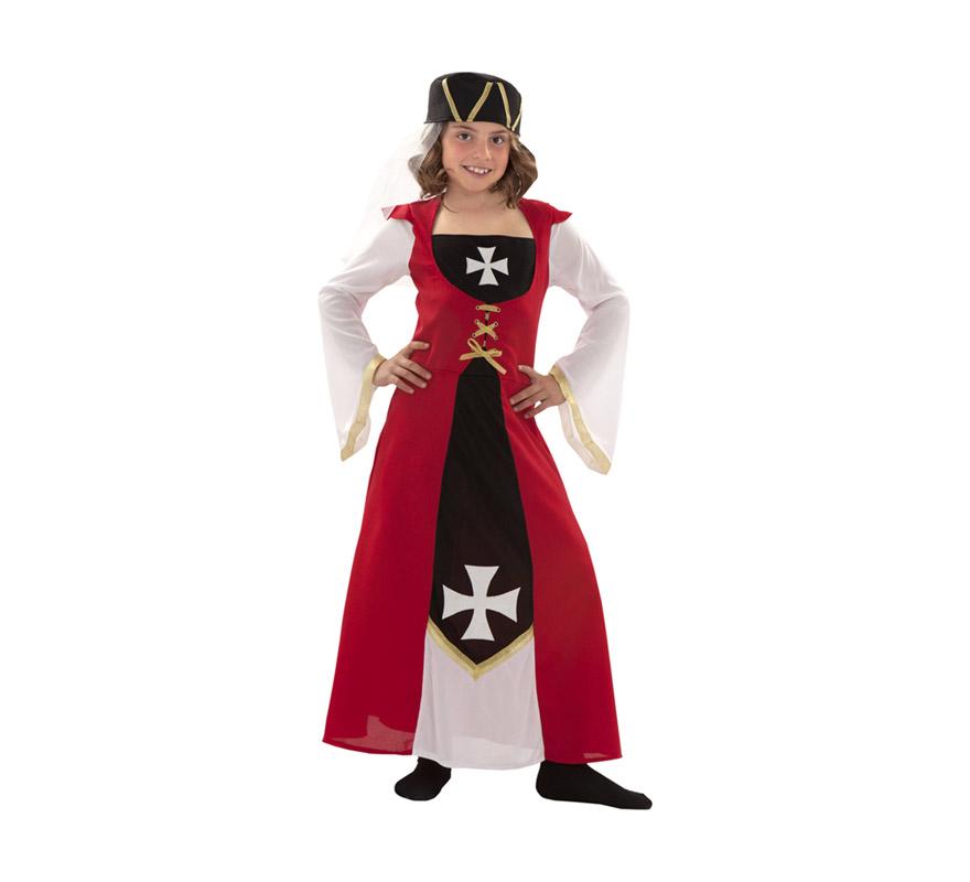 Disfraz de Marquesa de Malta para niñas de 5 a 6 años. Incluye vestido y gorro. Ideal como disfraz Medieval para niñas.