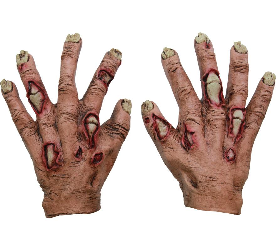 Manos Zombie Junior Flesh Infantiles para Halloween. Alta calidad. Fabricadas en látex artesanalmente por una empresa que hacen efectos especiales para Hollywood. Ideal como complemento de tu disfraz de Halloween para ir de Fiesta a Pubs, Discotecas, Casas particulares o Restaurantes y ayudar a crear un ambiente terrorífico y tenebroso en la Fiesta de Halloween.