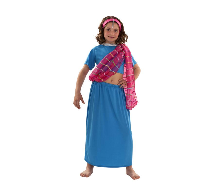 Disfraz de Dhara para niñas de 5 a 6 años. Incluye top. falda, manto y diadema. También sirve como disfraz de Bailarina India de Bollywood.