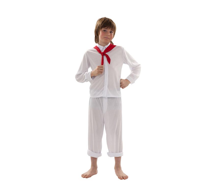 Disfraz de Sudamericano para niños de 7 a 9 años. Incluye pañuelo, camisa y pantalón. También sirve para disfrazarte para los encierros de Pamplona en San Fermin.