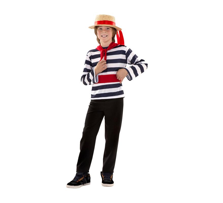 Disfraz de Veneciano para niños de 7 a 9 años. Incluye sombrero, pañuelo, camiseta, fajín y pantalón.