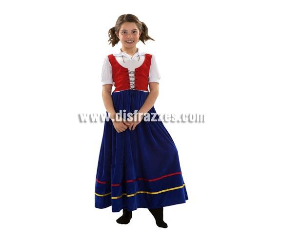 Disfraz de Veneciana para niñas de 5 a 6 años. Incluye vestido. También sirve como Sirvienta Medieval.