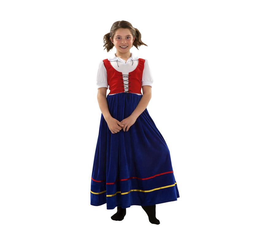 Disfraz de Veneciana para niñas de 7 a 9 años. Incluye vestido. También sirve como Sirvienta Medieval.