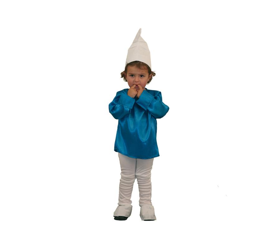 Disfraz de Duende Azul para niños de 1 a 2 años. Incluye gorro, camisa, pantalón y cubrezapatos. Con éste disfraz cualquier niño o niña se lo pasará bomba jugando a ser como Los Pitufos.