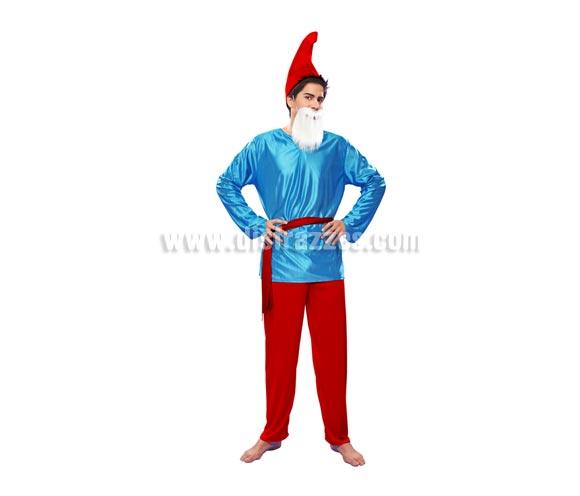 Disfraz de Duende rojo para hombre talla M-L. Incluye camisa, pantalón, sombrero y cinturón. Barba NO incluida, podrás verla en la sección de Complementos. Con éste disfraz te parecerás a Papá Pitufo.