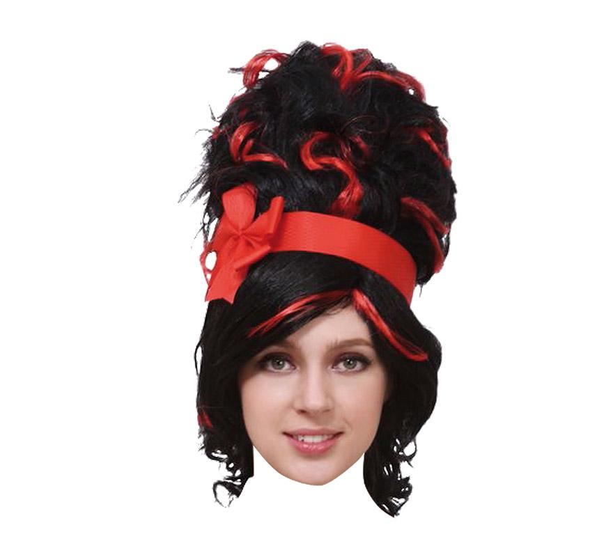 Peluca larga con cinta roja de 220 gr. Podría valer como peluca de  Amy Winehouse. También nos la compran como peluca para el disfraz de Vampiresa en Halloween.