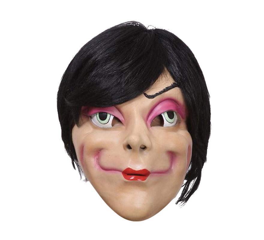 Máscara Mujer ojos grandes de látex con pelo de 170 gr.