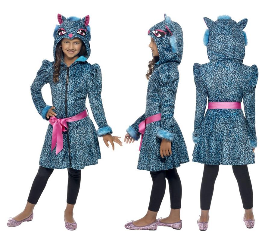 Disfraz de Leopardo Azul para Niña de 7 a 9 años. Disfraz único y de alta calidad ideal para Halloween. Incluye Chaqueta con adornos de pelo, Capucha y Cinturón. Completa este disfraz con artículos de nuestra sección de accesorios como maquillaje, guantes, cesta, saco o bolsa para caramelos...
