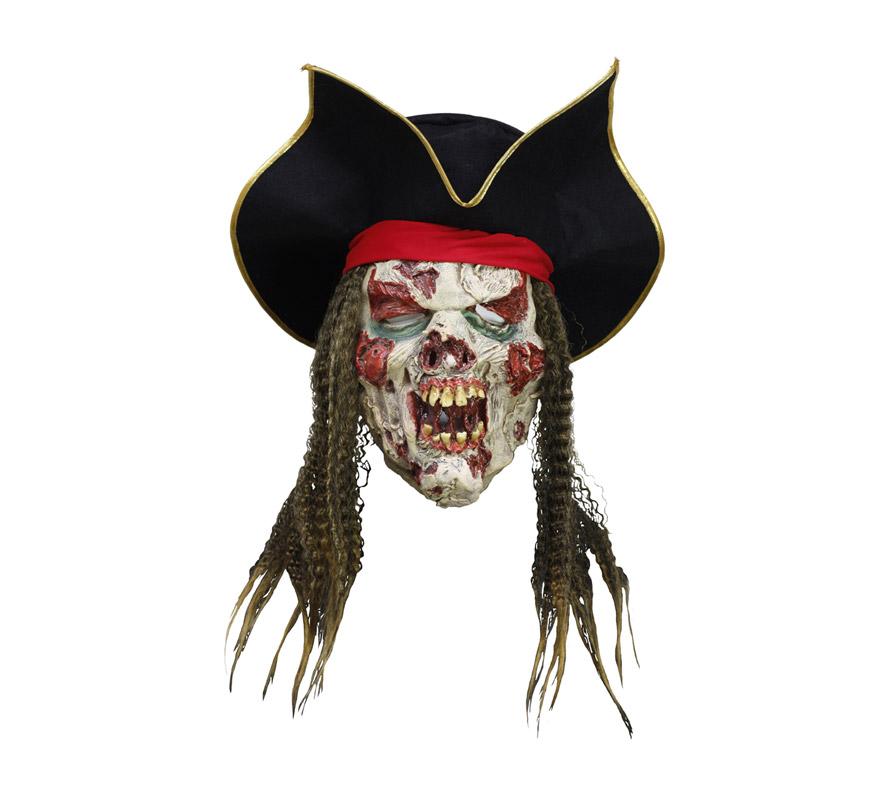 Máscara latex de Pirata con heridas y con sombrero.