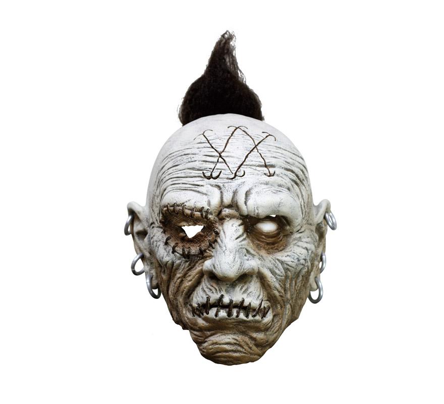 Máscara latex de Indígena con pelo Punky y pendientes.