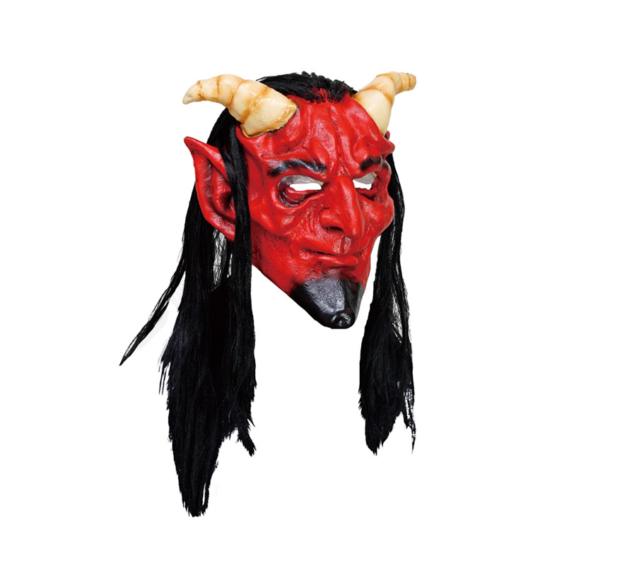 Máscara latex de Demonio o Diablo con cuernos y con pelo.