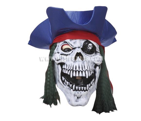 Máscara latex de Calavera con sombrero Pirata con parche.