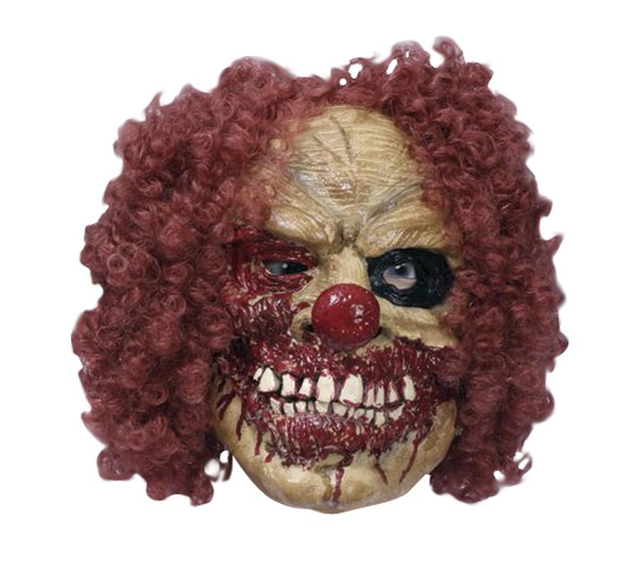 Máscara latex de Payaso Diabólico con pelo.