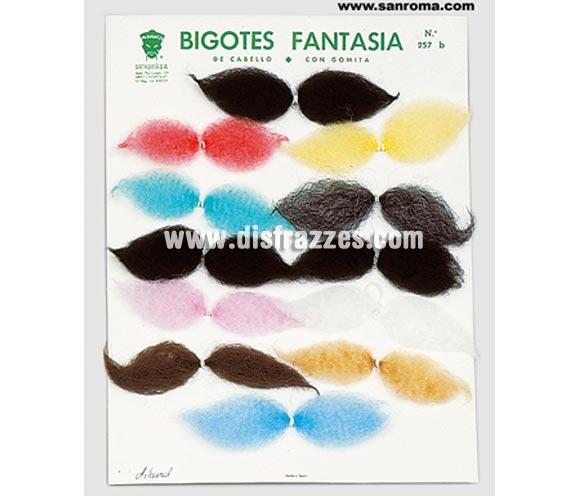 Bigote cabello con gomita de colores. Precio por unidad, se venden por separado.