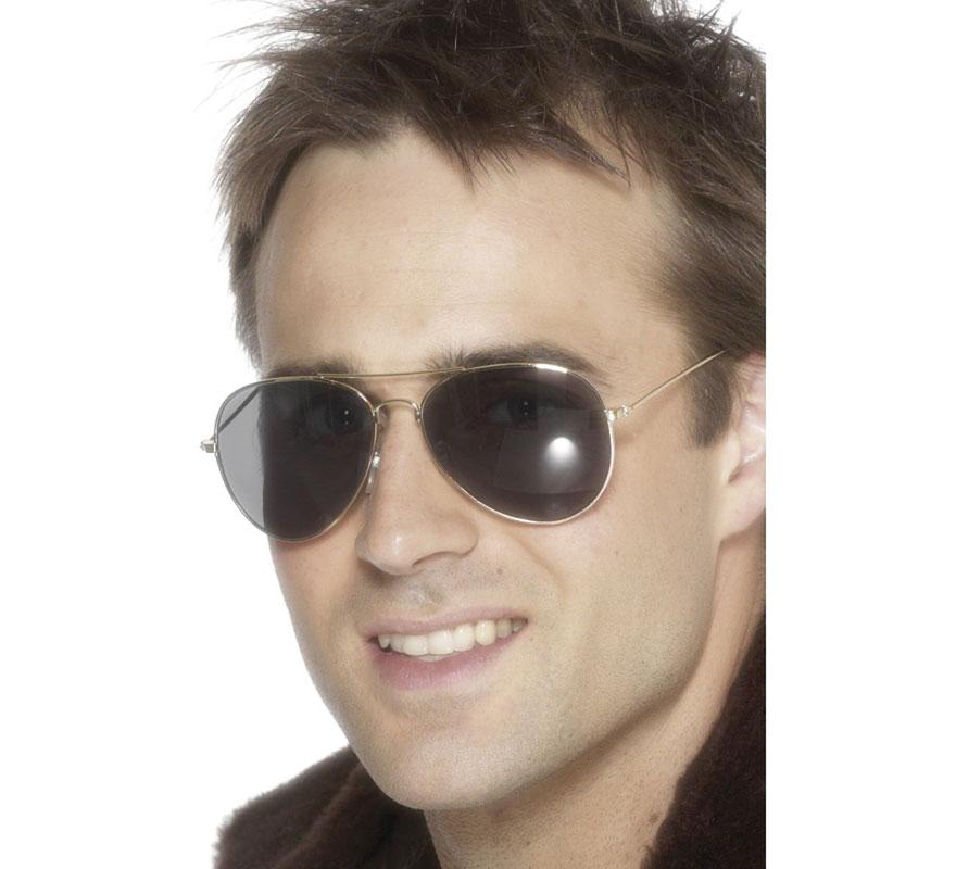 Gafas de Sol de Piloto con montura Plateada. Tipo Cobra. Complemento de Alta Calidad, ideal para nuestros disfraces del ejército o militares de Piloto, Aviador, Capitán, Oficial, Soldado, Fuerzas especiales, Estética de los años 80 o 90, etc...