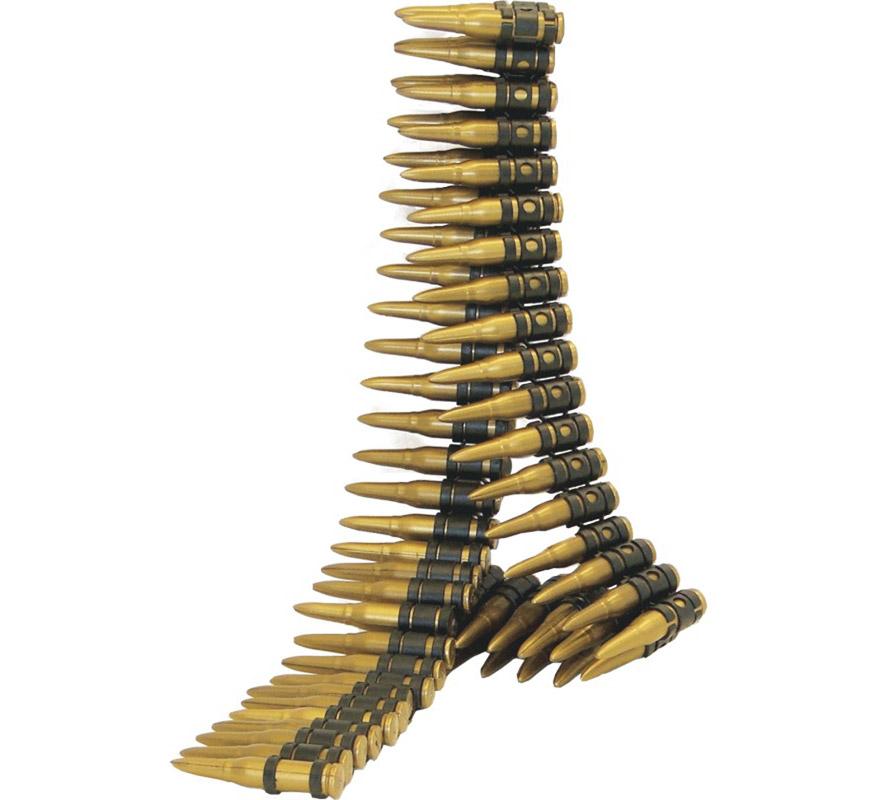 Canana o Cinturón de 60 balas 96 cm. Perfecto como Complemento para los disfraces de Militar, Rambo, etc.
