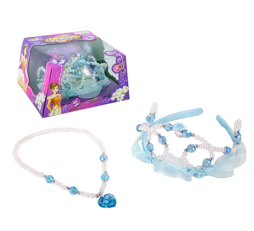 Set de Joyas de Princesa. Incluye corona con diadema y collar.