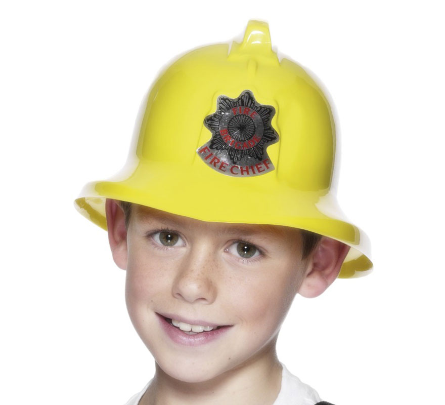Casco de Bombero color Amarillo Infantil. Artículo ideal para nuestros disfraces de niños de Bombero