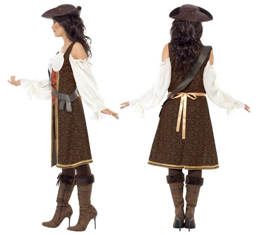 Disfraz de Mujer Pirata de Alta Mar talla M 40/42. Disfraz único y de Alta Calidad. No incluye botas ni sombrero. Completa tu disfraz con artículos de nuestra sección de complementos.