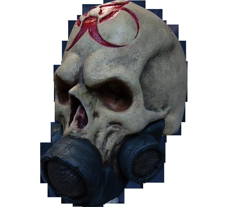 Máscara Nuke Skull de látex para Halloween. Alta calidad. Fabricada en látex artesanalmente por una empresa que hace efectos especiales para Hollywood. Máscara de Calavera con careta antigas para dar terror en Halloween.