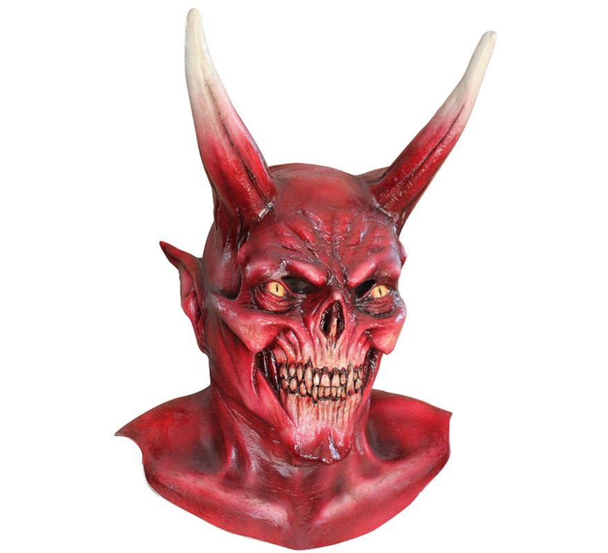 Máscara The Red Devil de látex para Halloween. Alta calidad. Fabricada en látex artesanalmente por una empresa que hace efectos especiales para Hollywood. Máscara de El Diablo rojo para dar terror en Halloween.