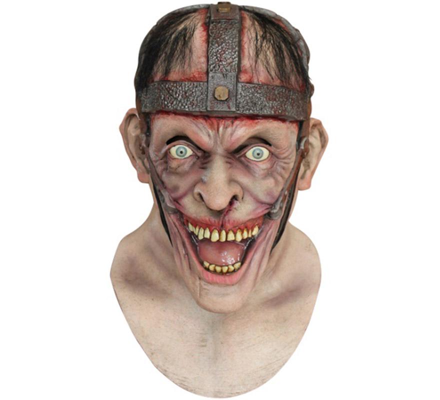 Máscara Lunatic de látex para Halloween. Alta calidad. Fabricada en látex artesanalmente por una empresa que hace efectos especiales para Hollywood. Máscara de Zombie Lunático para dar terror en Halloween.