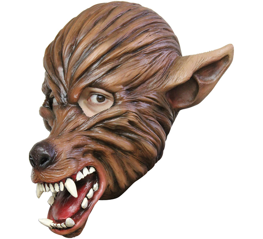 Máscara Wolf de látex para Halloween. Alta calidad. Fabricada en látex artesanalmente por una empresa que hace efectos especiales para Hollywood. Máscara de Lobo o Hombre Lobo para dar terror en Halloween.