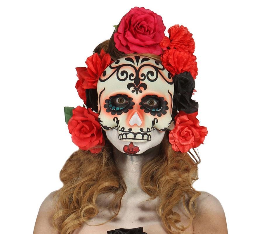 Media Careta de Calavera para Halloween. Media Máscara (sin barbilla) del dia de los difuntos, Catrina o Calavera de azúcar. Flores NO incluidas.
