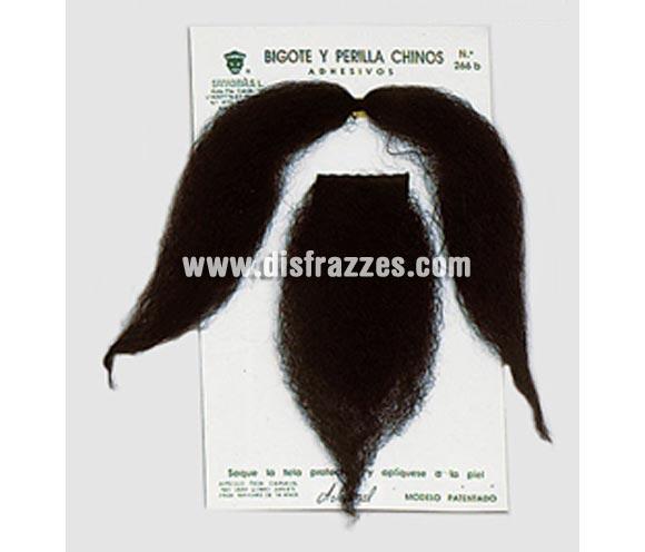 Bigote y perilla adhesivos de Chino negra.