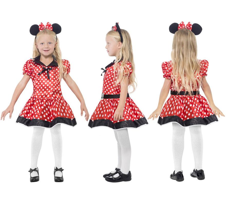 Disfraz de Linda Ratoncita para Niña de 10 a 12 años. Disfraz Único y de Alta Calidad ideal para imitar a Minnie Mouse. Se compone de Vestido y Diadema. Completa tu disfraz con artículos de nuestra sección de accesorios como peluca, nariz negra, maquillaje...