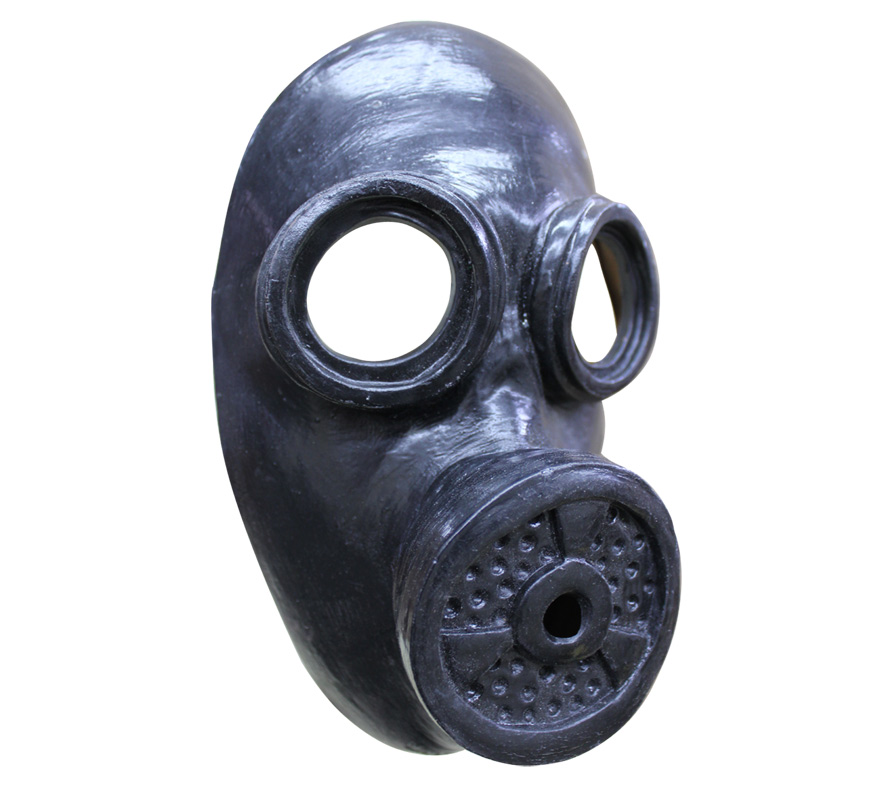 Máscara Anti-gas Negra para Halloween. Complemento Ideal para nuestros disfraces militares o de guerra. Alta calidad. Fabricada en látex artesanalmente por una empresa que hace efectos especiales para Hollywood.