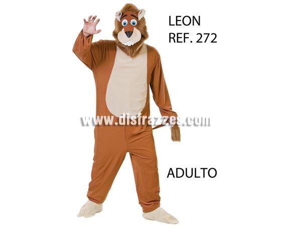 Disfraz de León adulto. Se fabrica en talla Universal para adultos pero se puede hacer para grupos, consultar posibilidad de hacer más tallas (incluso niños) y precio según cantidad de disfraces solicitada. Disfraz de Alex, el león de la Película Madagascar.